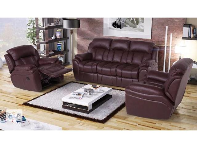 бу Комплект мебели из кожи Бостон (3р-1-1) для гостиной, коричневый цвет в Киеве