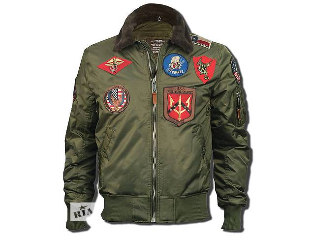 Бомбер Top Gun Official B-15 Flight Bomber Jacket with Patches (оливковий)- объявление о продаже  в Львові