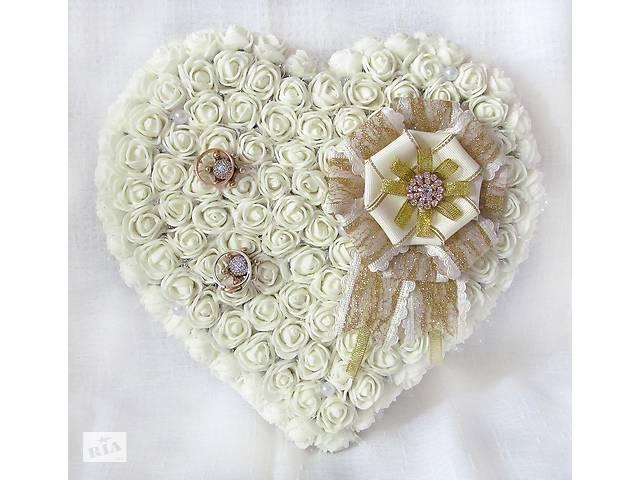 бу Оригинальная большая свадебная подушечка для обручальных колец из роз АЙВОРИ винтаж LA BEAUTY Studio в Киеве