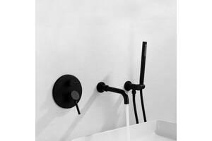 Смеситель для ванны встроенный Art Design Nice 3453 черный ( скрытый монтаж )