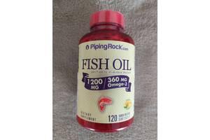 Рыбий жир омега-3 со вкусом лимона, 1200 мг, 120 капсул PipingRock США.