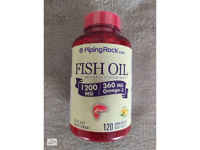 купить бу Рыбий жир омега-3 со вкусом лимона, 1200 мг, 120 капсул PipingRock США. в Тернополе