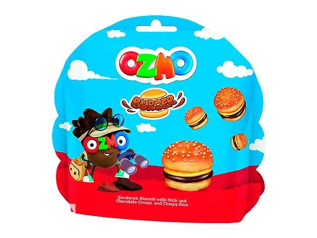 продам Упаковка печенья Ozmo Burger сэндвич с молочным и шоколадным кремом и рисовыми шариками 40 г х 12 шт бу в Киеве