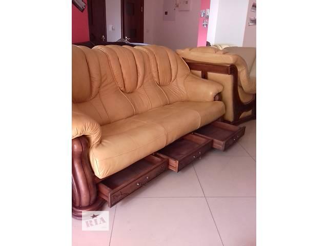 купить бу Шкіряний гарнітур на дубі 3+1+1, шкіряний диван + 2 крісла Польша в Дрогобичі