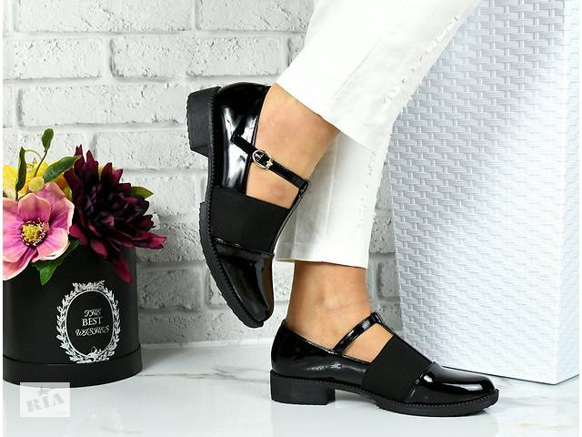 1a9c295081c5b9 Черные лаковые туфли лоферы с ремешком 36-40р