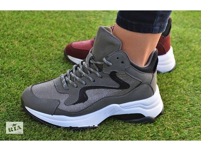 56cad3cf3a3eed купить бу Жіночі демісезонні високі кросівки Fila Gray сірі Adidas Nike в  Южноукраїнську