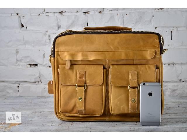купить бу Стильная мужская деловая сумка из натуральной кожи ручная работа светло-коричневый коричневый цвет в Киеве
