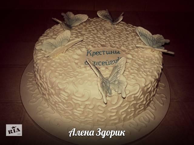 купить бу Торт на крестины c бабочками в Киеве