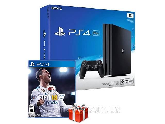 купить бу Игровая приставка Sony PlayStation 4 Pro 1TB Black + Игровой диск FIFA 18 в Луцке