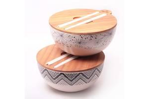 Миска из бамбукового волокна с крышкой и приборами 27 см Kamille KM-4384