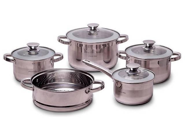 купить бу Набор кухонной посуды Kamille Springfield 9 предметов Нержавеющая сталь (KM-4505S) в Киеве