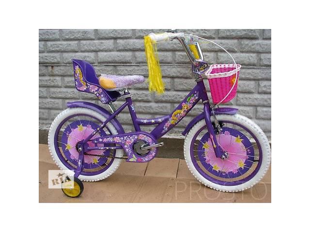 купить бу Велосипед двоколісний Azimut Girls 14 дюймів з кошиком+сидіння для ляльки, фіолетовий в Одесі