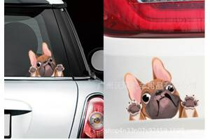 Наклейка на авто Собака, пёс 3D 22*18см