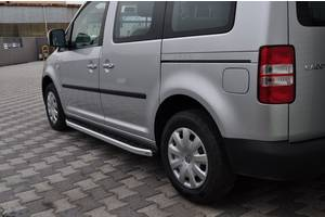 Volkswagen Caddy 2004-2010 гг. Боковые пороги Fullmond (2 шт, алюм) Макси база