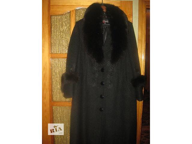 продам Женское пальто черное 56 размера из шерсти с мех.воротником бу в Виннице