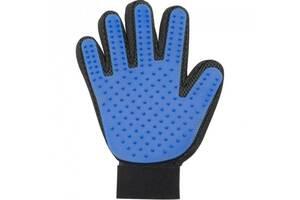 Перчатка для вычесывания шерсти True Touch UTM Черно-синяя (51-TD)