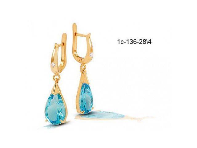 Золотые серьги висюльки с голубым топазом с-136-28/4- объявление о продаже  в Киеве