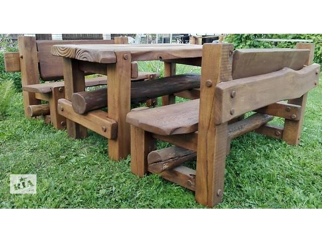 бу Набор ДУБОВОЙ мебели «ВЕЧНЫЙ» (стол + 2 скамьи с регулируемыми спинками)