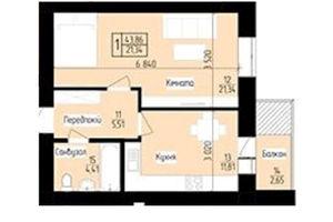 Продається 1-кімнатна квартира 43.86 кв. м у Мукачевому