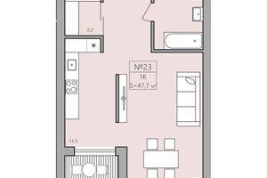 Продается 1-комнатная квартира 47.4 кв. м в Тернополе