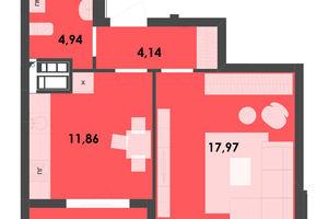 Продается 1-комнатная квартира 42.93 кв. м в Житомире