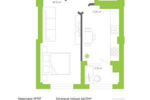 Продається 1-кімнатна квартира 46.7 кв. м у Луцьку