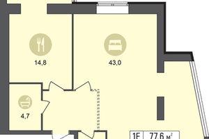 Продается 1-комнатная квартира 77.6 кв. м в Днепре