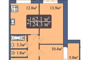 Продається 2-кімнатна квартира 62.1 кв. м у Чернігові