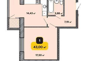 Продається 1-кімнатна квартира 43 кв. м у Хмельницькому