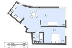 Продается 2-комнатная квартира 59.57 кв. м в Тернополе