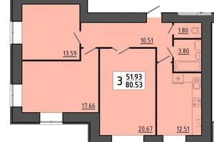 Продается 3-комнатная квартира 80.53 кв. м в Тернополе