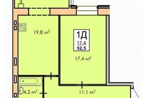 Продается 1-комнатная квартира 52 кв. м в Черкассах