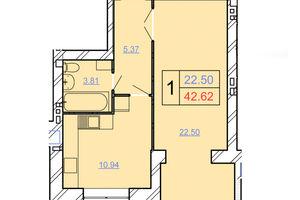 Продается 1-комнатная квартира 42.62 кв. м в Хмельницком