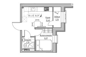 Продається 1-кімнатна квартира 23.87 кв. м у Одесі