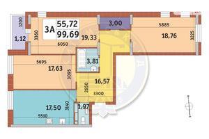 Продается 3-комнатная квартира 99.69 кв. м в Киеве