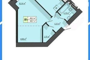 Продается 1-комнатная квартира 52.1 кв. м в Тернополе