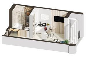 Продается 1-комнатная квартира 25.46 кв. м в Ирпене