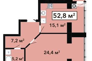 Продается 1-комнатная квартира 52.8 кв. м в Хмельницком