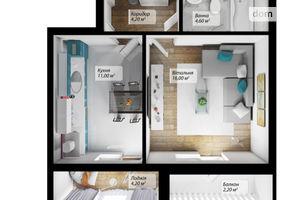 Продається 1-кімнатна квартира 42.2 кв. м у Чернівцях