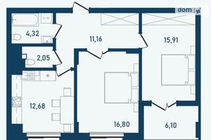 Продається 2-кімнатна квартира 69.02 кв. м у Чернівцях