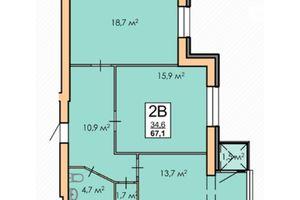 Продается 2-комнатная квартира 67.1 кв. м в Черкассах